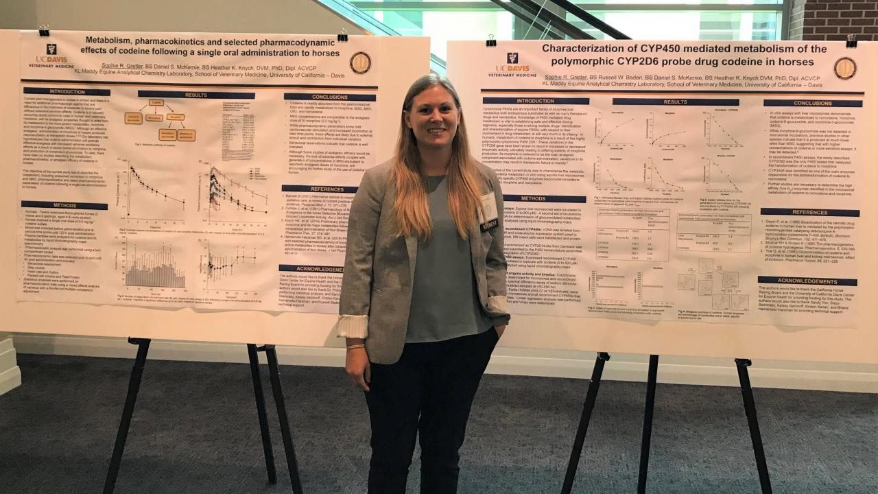 Sophie Gretler standing in front of the research posters that she presented at the 2019 AAVPT conference.